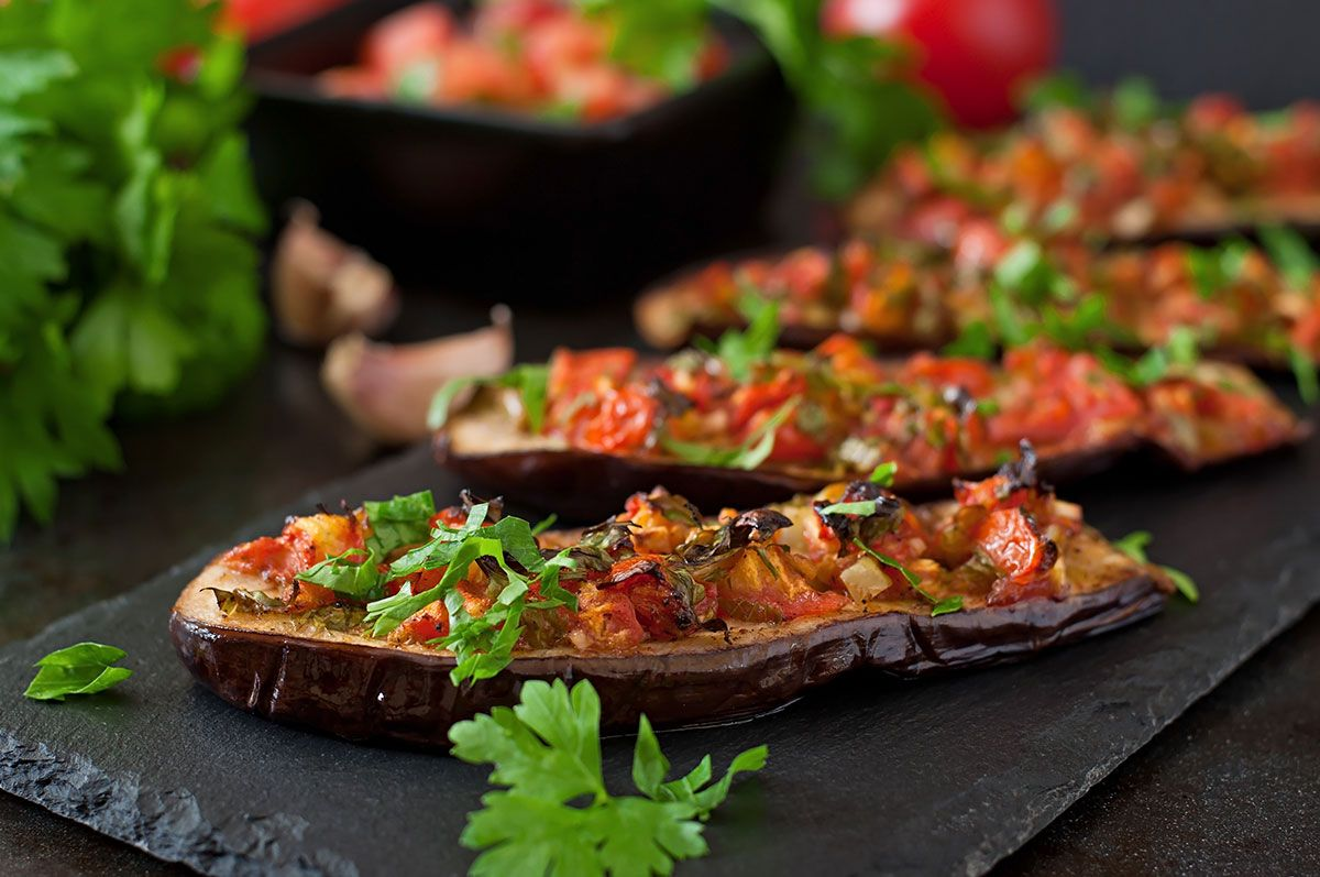 Baked Eggplant With Tomatoes Garlic And Paprika