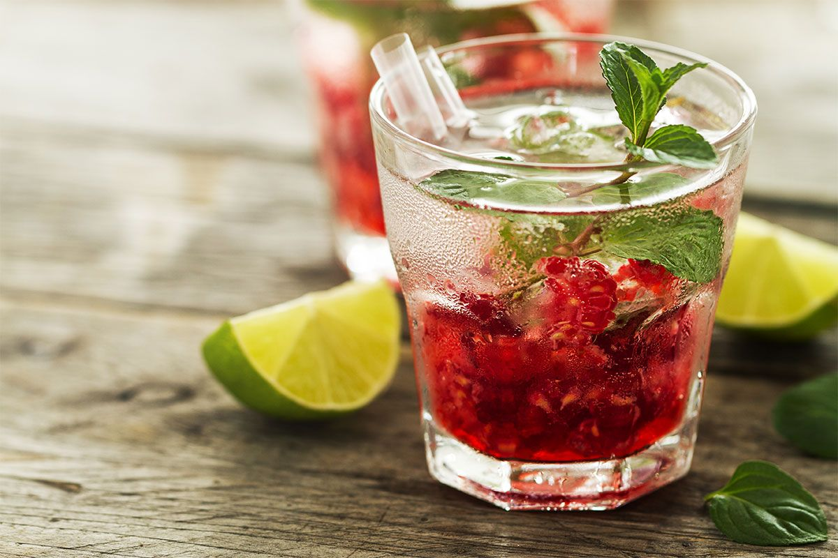 Raspberry Lemonade with Fresh Mint
